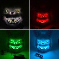 Быстрая Доставка Кровавый Кролик Светящиеся маска Horror Demon Halloween Party Маски Медведь Плюшевые животных Headgear EL Шлем Одеваем Реквизит F0902
