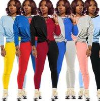 النساء رياضية المصممين طويل الأكمام تي شيرت سروال اللباس خريف وشتاء تباين الألوان المرقعة الرياضة قطعتين بدلة D82408