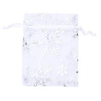 Takı Kese Çanta Gümüş Beyaz kar taneleri Baskılı Şeffaf Parti Favor İpli 100 ADET Organze Gelinlik Hediye Çanta