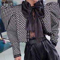 VGH Casual Ekose Kadınlar Coats O Boyun Puff Uzun Kollu Tunik Dantelli Renk İnce Kısa ceketler için Şık kadın 2020 Giyim Hit