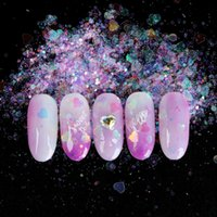 Neue AB-Farben-Nagel-Flocken Paillette Schmetterlings-Herz-Holographic Mermaid Glitter für Nail Art Powder 3D-Scheiben-Dekorationen