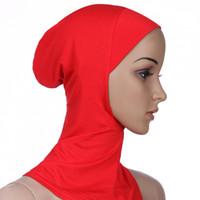 Diseñador de las mujeres musulmanas cubierta interior Hijab bufandas mujer color sólido llano underscarf casquillo de la bufanda de algodón mercerizado Sombrero de las señoras caliente cny1370