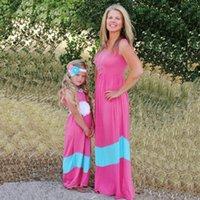 새로운 엄마와 딸 일치하는 솔리드 컬러 스트라이프 splicing 부모 아이 어머니 딸 조끼 드레스 가족 일치하는 옷 S471