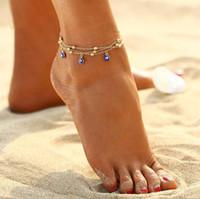 2 Stil Türkische Augen Perlen Fußkösche Für Frauen Sandalen Pulseras Tobilleras Mujer Anhänger Fußkettchen Armband Fuß Sommer Strand Schmuck GD532