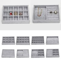 Grey Velvet empilhável jóias mostrar bandeja Case for Jóias Hot Vendas Moda portátil de jóias de veludo Organizer Box MX200810