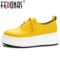 FEDONAS New 2020 Spring Summer Genuine Leather Shoes Woman Flats Platforms Corss-tied Round Toe Casual Shoes Woman Loafters Flat