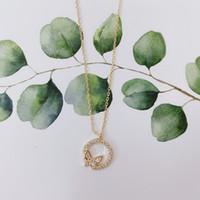 تصميم كامل الماس دائرة فراشة أنثى قلادة سلسلة قلادة مع حقيبة