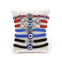 Nueva ojo malvado azul encanto trenzadas cadenas de cordón pulseras para el encanto de las mujeres de los hombres de la tortuga elefante Hamsa Mano Roja cadena brazalete de la manera joyería