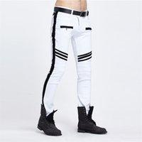 Личностные 2020 Узкие джинсы мужские Белый / Черный лоскутные Разорванные джинсы Мода Повседневная Slim Fit Байкер Хип-хоп Джинсовые брюки