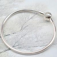 Edell 925 Gümüş Klasik yuvarlak kafa Yılan Zinciri Charm İçin Kadınlar Bilezik Fit Orjinal Pandora Klasik Bilezik DIY Boncuk Charms1
