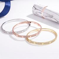 925 Bracelet gypsophile en argent sterling, en argent sterling 18k étroite plaqué or rose bracelet double boucle de diamant ligne, bracelet couple