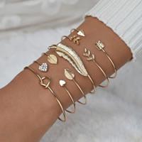 6 шт / много Boho Сердце листьев Стрелка Браслеты позолоченный Алмазный браслет браслет Изысканный Женский браслет ювелирных изделий подарка