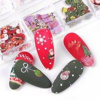 12 그리드 새로운 네일 쥬얼리 목재 펄프 칩 꽃과 장식품 크리스마스 할로윈 혼합 네일 장식 조각 장식 네일 아트