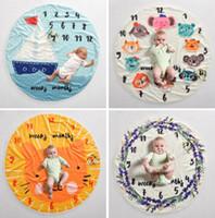 Milestone bebé Manta fotografía infantil fondo mantas apoyos fotográficos Las cartas de la flor de impresión fotográfica vellón manta GGA3635
