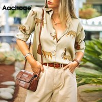 Aachoae Women Blouses Long Sleeve Turn-down Collar Casual Tops Leopard Print OL Style Office Shirt Ladies Loose Blouses Blusas 200928