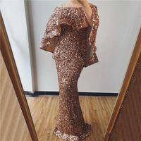 Högkvalitativa Sequined Evening Dresses 2020 Två stycken Mermaid Prom Klänning Lång Formell Party Pageant Klänning