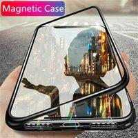 Manyetik Adsorpsiyon Temizle Metal + temperli cam Kapak iPhone'u 2020 11 Pro Max XS XR X 8 7 6 6S Artı SE 12 Mini Flip-Built in Mıknatıs Davası