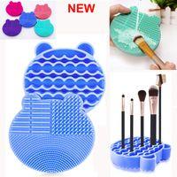 Limpiador de cepillo del maquillaje de Silicón cepillos de lavado de limpieza secador de bandejas Cepillos cosméticos limpia depurador Fundación almohadilla de limpieza componen la herramienta