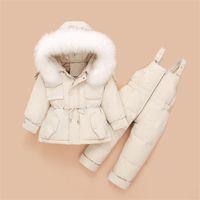 Snowsuit Kinder Winter Kleidung für Mädchen -30 Grad Kinderkleidung gesetzte Baby Duck Down Jacket + Overall-Kleinkind-Parka-Mantel 0927