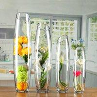 المزهريات الطابق الزجاجي زهرية على شكل بيضة شفاف المدفعية الإبداعية الشكل المائل زهرة الحلي الزفاف الديكور J