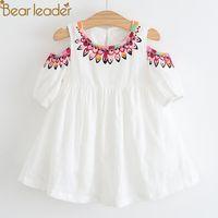 Bear Leader Girls Dress 2020 New Brand Summer Style Dew Shoulder Design Princess Dress Children Clothing Girls For 3-7Y