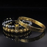 Ragazzi braccialetto dei monili 3pcs / insieme dei monili Corona Bileklik ematite intrecciatura bracciali per le donne Pulseira Masculina Feminina