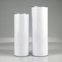 20 Unzen 30 Unzen Sublimation Gerade dünne Tumbler 20 Unzen 30 Unzen Edelstahl leere weiße dünne Tasse mit Kaffee Cylinder Wasserflasche Deckel Stroh