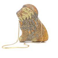 форма льва Кристалл вечер Клатчи Сумка выдалбливают Женщина Металл сцепление Кошелек Свадьба Выпускного ужин сумка сумка крест тело