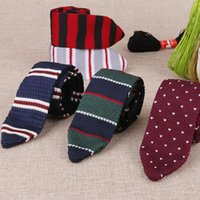 Linbaiway 5.5cm Men's Knitted Tie Triangle Striped Neckties For Man Woven Tie Skinny Cravate For Party Knitting Ties Custom LOGO