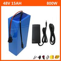 Wiederaufladbare 500W 48V 15AH Lithium-Batteriepack 48V 750W Elektrische Fahrrad-Roller-Akku mit 54,6V 2A-Ladegerät Kostenloser Versand