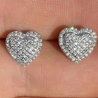 Choucong Brand New Top Selling Luxury Jewelry 925 Sterling Silver Pave White Sapphire CZ Diamond Heart Earring Party Women Stud Earring Gift