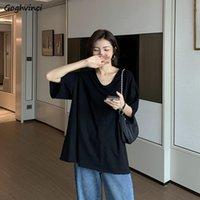 À manches courtes T-shirts Femmes solides V-cou oversize Streetwear coréen Ulzzang Plus Size 3XL Comfort élégant Chic Loisirs quotidien New