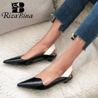 RIZABINA New Shoes Genuine Leather High Quality Women Sandals Pointed Toe Slip On Shallow Concise Shoes Footwear Size 34-39
