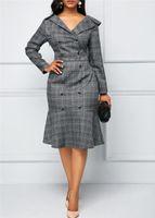 Designer vestiti dal lavoro collo di modo V lunghi abiti manica Donne ufficio signora Clothes Primavera Autunno Stampa