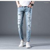 Uzun Pantolon Erkek Delik Jeans Moda Fermuar Fly Kalem Pantolon Erkek Distrressed Stretch Jeans Açık Mavi Orta