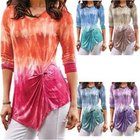 tshirts Women V Neck Slim Plus Size T Shirts High Street Womens Long Sleeve Tops Clothing Tie Dye Gradient