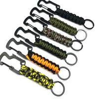 Scoperta Ombrello corda moschettone portachiavi Hanging Umbrella corda intrecciata bottiglia portachiavi Keychain apri 6 colori KKA8069