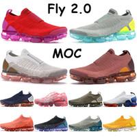 Mens 2.0 MOC Koşu Ayakkabıları Yelken Buğday Üniversitesi Kırmızı Fussia Blatt Üçlü Siyah Altın Yeşim Pas Pembe Ay Parçacık Fly Kadın Sneakers