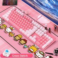 Teclados Redondos Retro Punk Keyboard Pink Mechancial White Backlit 104 Teclas Verde Switch KeyCaps Cableado USB Para Notebook