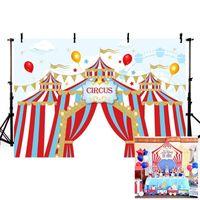Fotografia Plano de Fundo Mehofond Circus Backdrops Vinyl Red Tent Bunting festa de aniversário das crianças para Photo Studio personalizado