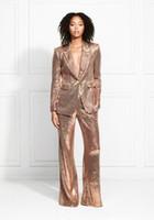 2020 Rose Gold Sparkly Sequined Mutter der Braut-Klagen Bling Slim Fit Frauen Kleider Dame-Partei-Abendgarderobe für Hochzeit (Jacket + Pants).