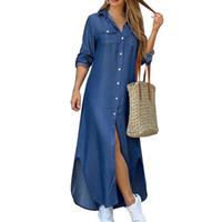 우아한 문자 인쇄 여성 롱 드레스 2020 봄 여름 긴 소매 맥시 드레스 여성 캐주얼 버튼 분할 파티 Vestidos