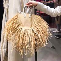 Nuevo- las mujeres del verano Bolsas borlas Natural Straw papel de una sola cadena de la cruz del cuerpo paquetes pequeños Bolsa de vacaciones