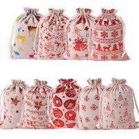 هدايا عيد الميلاد الرباط قماش سانتا عيد الميلاد والحقائب الصغيرة قماش Monogrammable سانتا كلوز الرباط حقيبة مع حيوانات الرنة