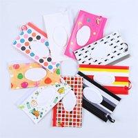 Nasse Tuch Reißverschluss-Tasche Shell Striped Plaid-Baby-Wipes-Speicher-Beutel Kunststoff tragbare Reticule Handbag Container Rectangle Mom Frauen 3 45dh C2
