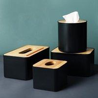 Modern cor preta Contentores do tecido com telefone titular tampa de madeira do assento Tissue rolo de papel Tyle vasilha almofadas de algodão caixa de armazenamento