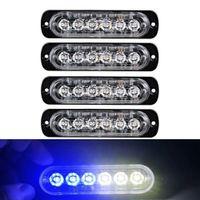 Предупреждение автомобиля синий белый свет строба 6 LED Strobe Signal Light Bar охранной сигнализации вспышки проблесковый лампы поверхностного монтажа Lighthead лампа 12V-24V