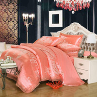 Europa Jacquard Bedding Conjuntos 4/6 pcs Queen King Size Size Satin Devet Cobertura Conjunto de Silk Algodão Mistura de Algodão Tecido Luxo Bedlinen Folha Folhas Folhas