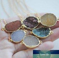 Оптово-New !! естественное ожерелье druzy с дерева прелестями в наличии, 24k позолоченный камень ожерелье druzy агата