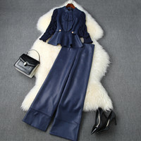 유럽 및 미국 여성 의류 2020 가을 새로운 스타일의 나비 셔츠 7 포인트 슬리브 헐렁한 와이드 - 다리 바지 패션 슈트